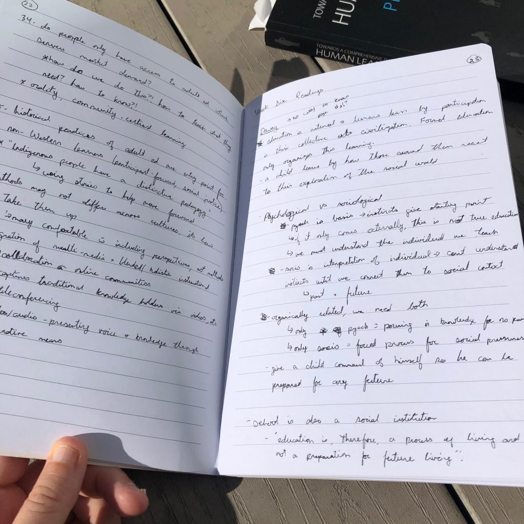 Photo of course notes