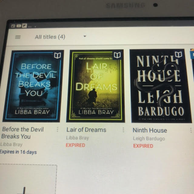 Before the Devil Breaks You and Lair of Dreams by Libba Bray, Ninth House by Leigh Bardugo (books)